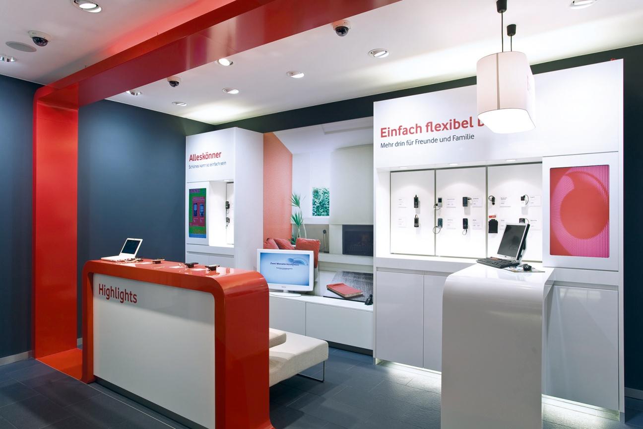 Vodafone Ladenbau mit Corian und Parapan