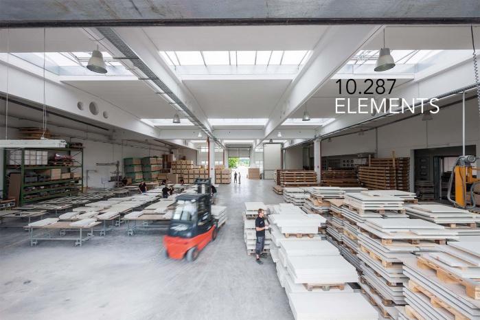 Lagerhalle für Elbphilharmonie Wandverkleidung
