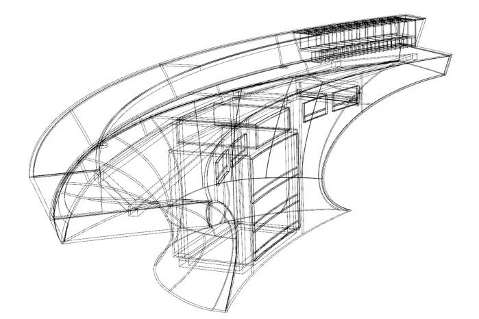 3D-Zeichnung der Theke für Hasenkopf Projekt Beautysalon Egger