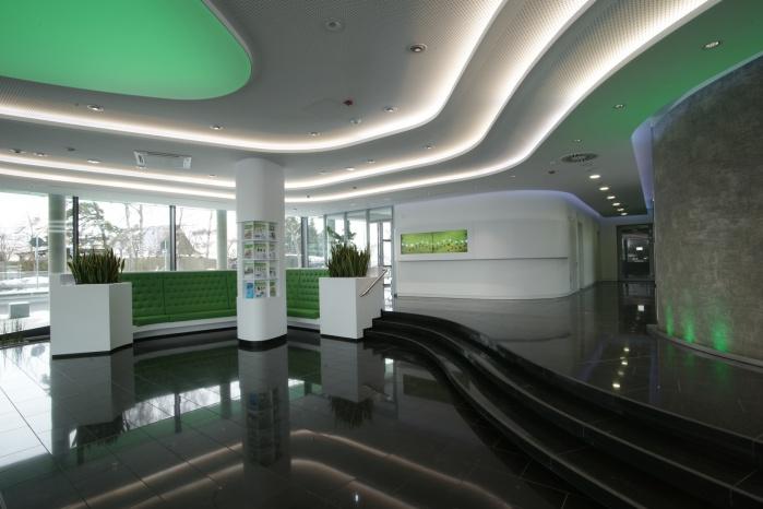 Innenausbau-Elemente aus Corian für Grünbeck