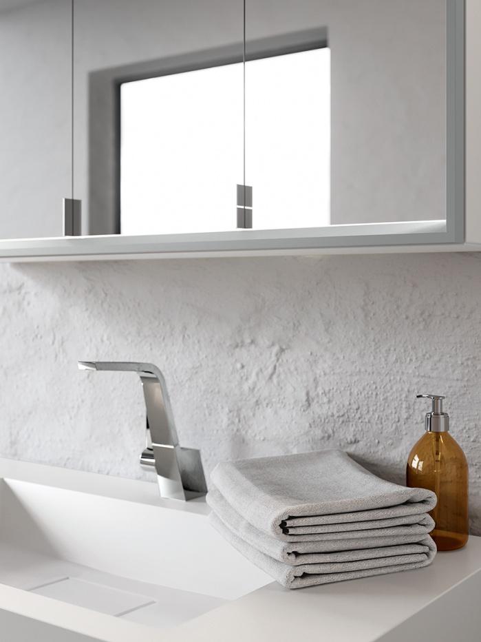 Waschbecken mit verdecktem Ablauf